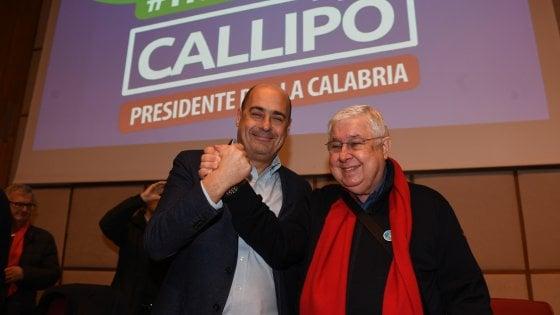 """Zingaretti a Reggio con Callipo: """"Non regalate la Calabria alla destra dell'odio"""""""