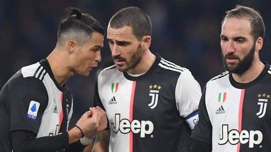 """Juventus, a Napoli un tridente in panne. Bonucci: """"Guardiamo avanti"""""""