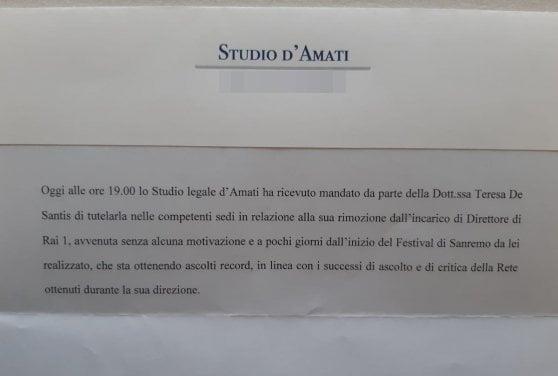 """De Santis, azione legale contro la rimozione da Rai1: """"Il successo di Sanremo è merito mio"""". Foa la sostiene: """"Ha scelto Amadeus"""""""