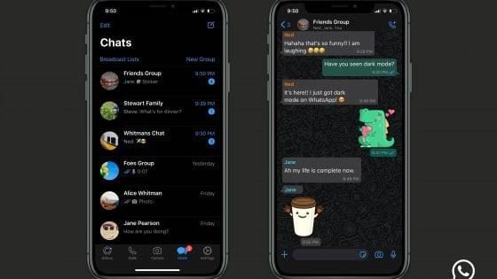 Whatsapp, il Dark mode sbarca su iPhone e Android