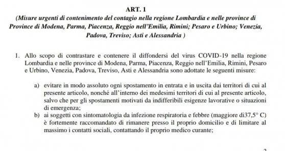 """Coronavirus, il decreto in bozza: """"Chiusa la Lombardia e altre 11 province"""". Sospese cerimionie civili e religiose, comprese quelle funebri"""