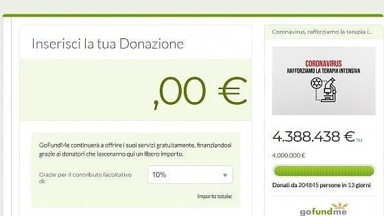 """La pagina della donazione per il San Raffaele: si vede, nel menu a tendina, la voce del """"contributo facoltativo"""" che è però pre-impostato al 10%"""
