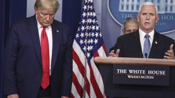Il presidente degli Stati Uniti Donald Trump e (a destra) il suo vice Mike Pence. Il Paese va verso un bazooka da 2000 miliardi per sostenere le imprese ei lavoratori