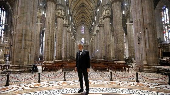 Coronavirus, concerto di Andrea Bocelli nel Duomo di Milano deserto: