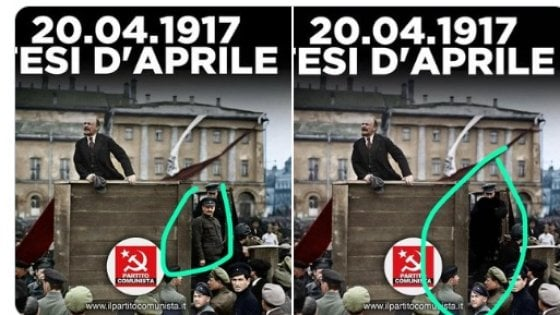 """Le """"Tesi di aprile"""" del Pc di Marco Rizzo: Lenin sì, Trozky no (cancellato dalla foto)"""