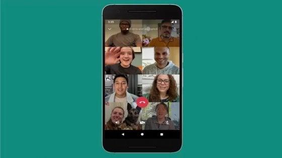 WhatsApp, videochiamate di gruppo fino a 8 persone