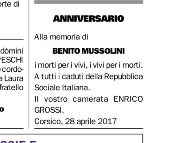 I nomi dei 43 militari della Rsi fra i necrologi dell'Eco di Bergamo