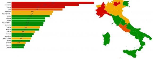 L'incremento settimanale dei casi regione per regione