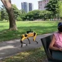 Singapore: il robot 'distanziatore' a spasso nel parco
