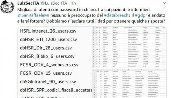 Anonymous: Abbiamo bucato il San Raffaele. Lospedale: App dismessa da anni, password obsolete