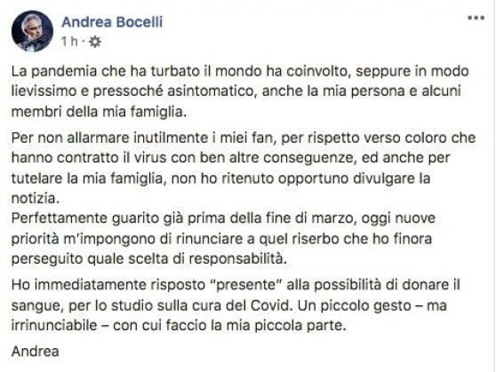 """Andrea Bocelli: """"Ho avuto il coronavirus, ora dono il plasma per la ricerca"""""""