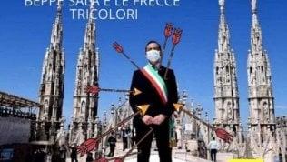 Sala 'trafitto' da Frecce tricolore: polemica sulla foto del sindaco modificata da consigliere leghista