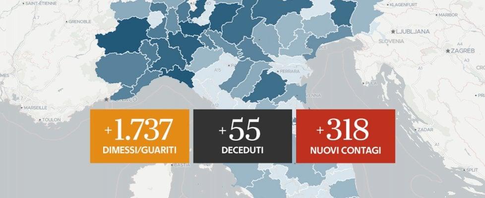 Coronavirus, il bollettino di oggi 2 giugno: i morti sono 55, i contagi 318. Nessun nuovo caso in 8 regioni