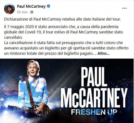 Paul McCartney contro l'Italia: restituite i soldi dei biglietti per i concerti cancellati