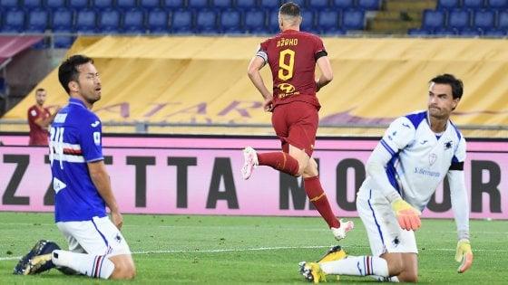 Roma-Sampdoria 2-1, super Dzeko tiene vive le speranze Champions