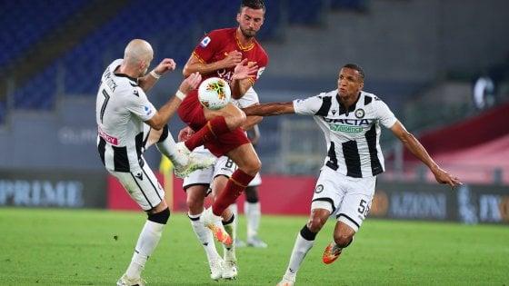 La Roma in caduta libera, l'Udinese vince all'Olimpico 2-0
