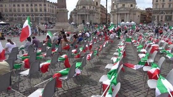 """Il Centrodestra in piazza a Roma rispetta le regole. Leader uniti nella difesa di Berlusconi: """"Eliminato in modo infame"""""""