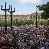 """Russia, manifestazione """"record"""" contro l'arresto del governatore di Khabarovsk accusato..."""