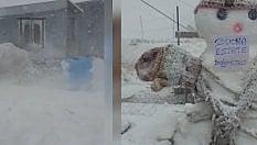 "Super tormenta di neve, la scritta a 3343 metri: ""Buona estate DoloMitici"""