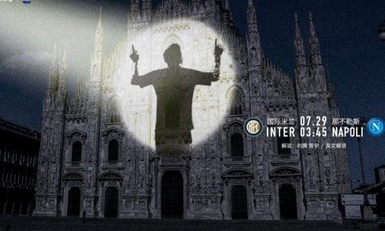 Suning presenta Inter-Napoli con l'ombra di Messi sul Duomo