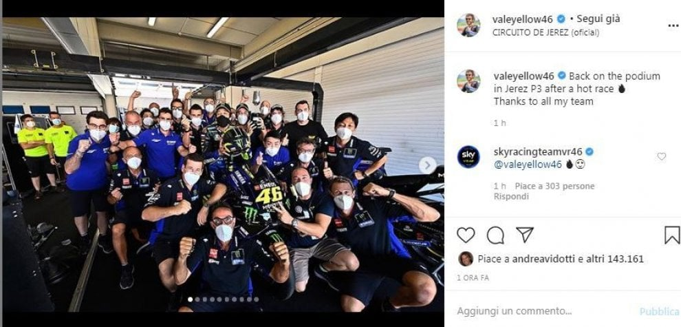 """Valentino , il ringraziamento social al team: """"Di nuovo sul podio in una corsa calda"""""""
