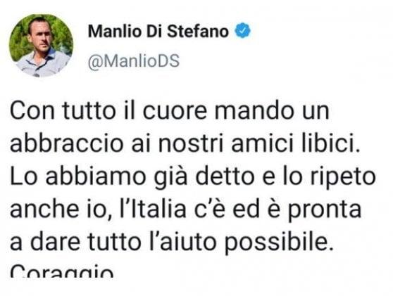 """Beirut, la gaffe su Twitter di Manlio Di Stefano: """"Un abbraccio agli amici libici"""". Poi si corregge"""
