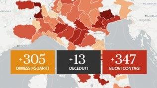 Il bollettino: in calo i nuovi contagi (347), 13 morti e 305 guariti Mappe e graficiSei vaccini per sperimentazione sull'uomo