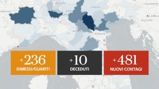 Il bollettino di ieri, aumentano i contagi: sono 481, 10 le vittime Mappe grafici