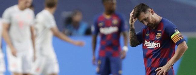 """Barcellona umiliato e Messi sempre più solo, il Bayern vince 8-2 e va in semifinalePique: """"Abbiamo toccato il fondo""""di FEDERICO SALA"""