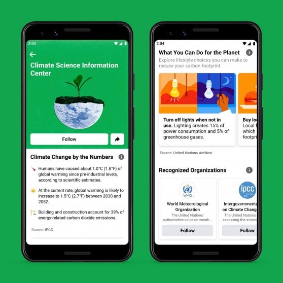 Facebook lancia la piattaforma per l'ambiente e il clima. Entro il 2030 emissioni zero per tutta la catena, fornitori inclusi