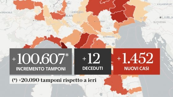 Coronavirus, il bollettino di oggi 16 settembre: 12 morti e 1.452 nuovi casi