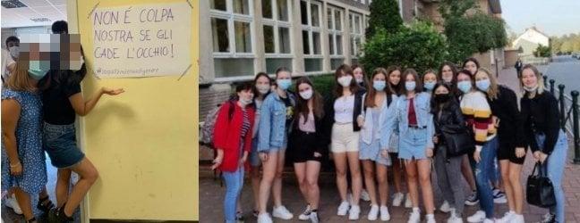 A sinistra le studentesse del Socrate di Roma che protestano contro la direttiva. A destra l'analoga protesta delle liceali francesi