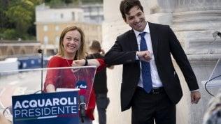 Francesco Acquaroli con Giorgia Meloni