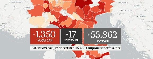 Nelle ultime 24 ore 1.350 nuovi casi, 17 decessi e 352 guariti Mappe e grafici