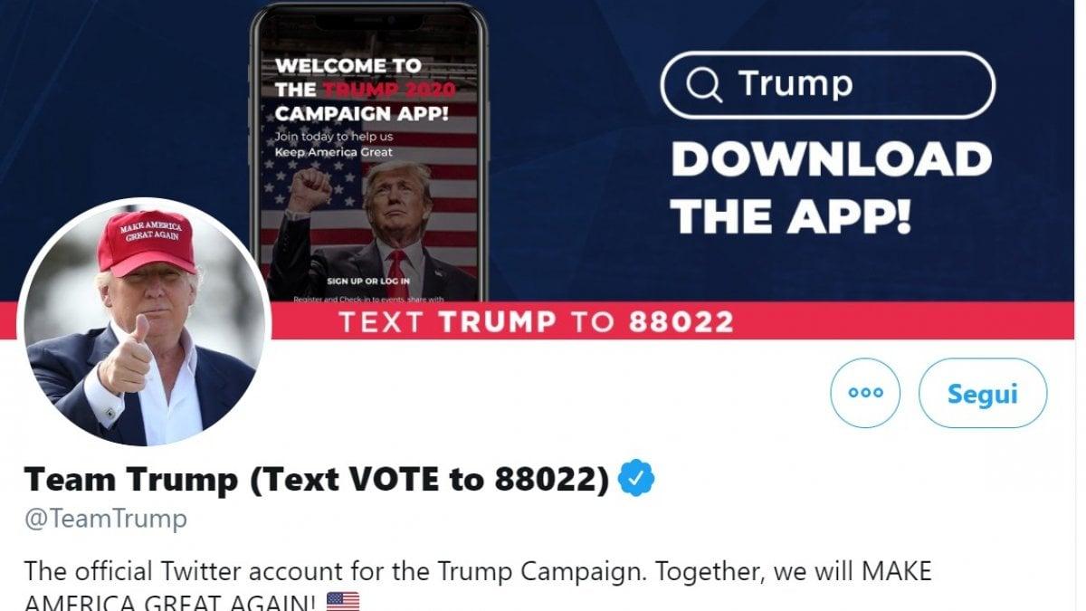 """192332490 870bfed3 f15e 4ee4 b862 656e82e98b97 - Twitter sospende il profilo della campagna Trump. Il presidente: """"Faccio causa"""""""