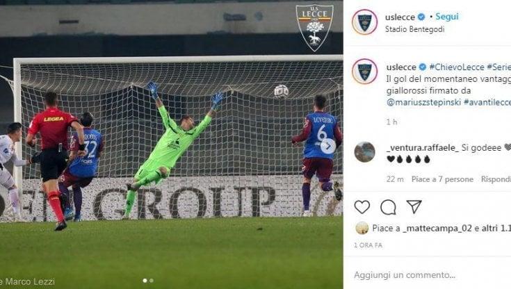Serie B, Chievo-Lecce: Falco regala il primo posto ai salentini