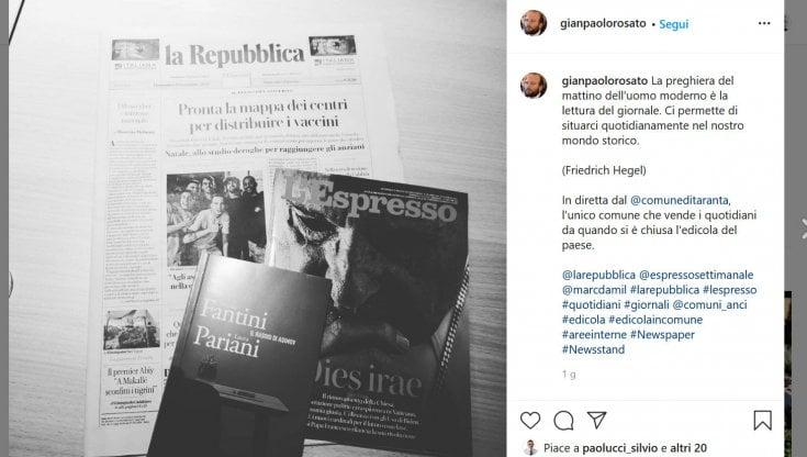 Taranta Peligna |  il paese senza più edicole dove i giornali li vende il sindaco in Municipio