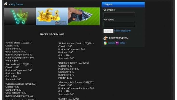 Dark web: ecco quanto costano carte di credito, identità, PayPal nel mercato illegale