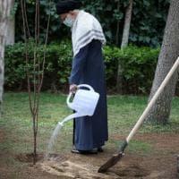 """Iran, l'ayatollah Khamenei pianta due alberi: """"Il cambiamento climatico mette in pericolo..."""