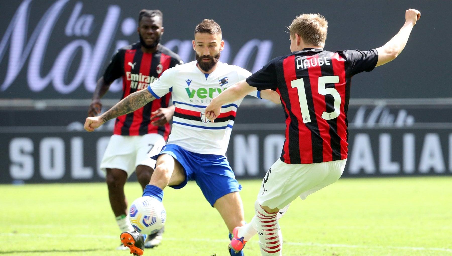 Milan-Sampdoria 1-1: Quagliarella illude i doriani, Hauge salva i rossoneri