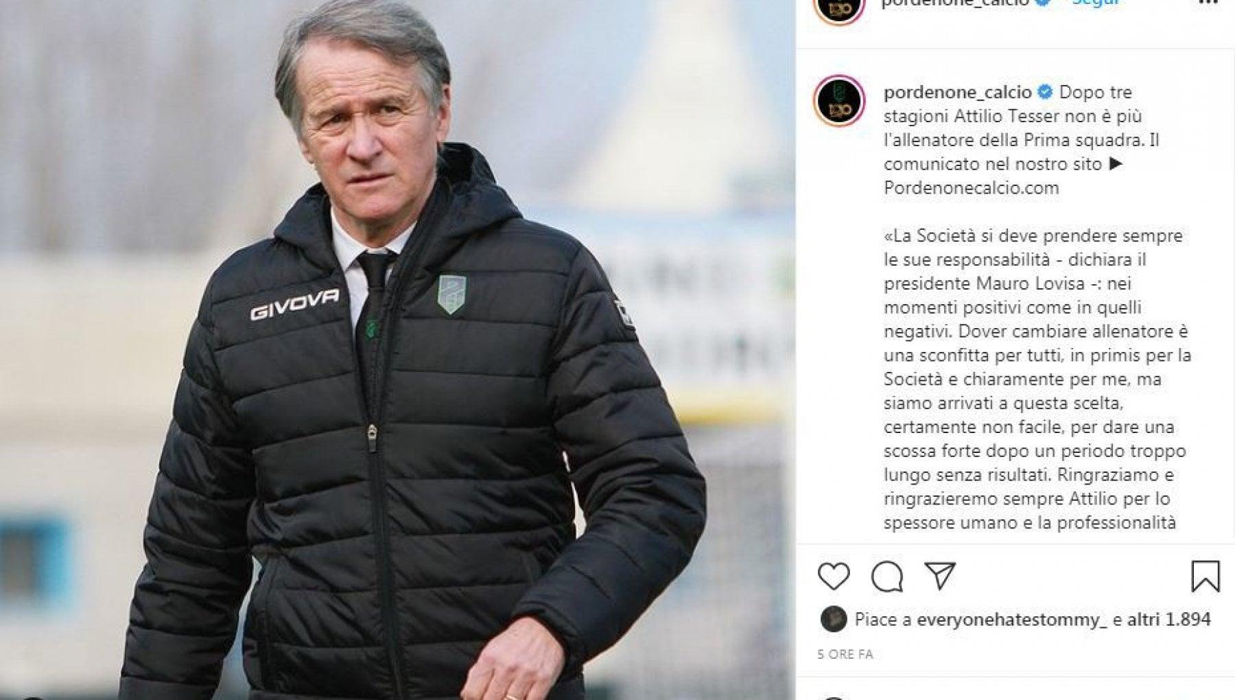 Serie B, il Pordenone cambia tecnico: via Tesser, al suo posto Domizzi