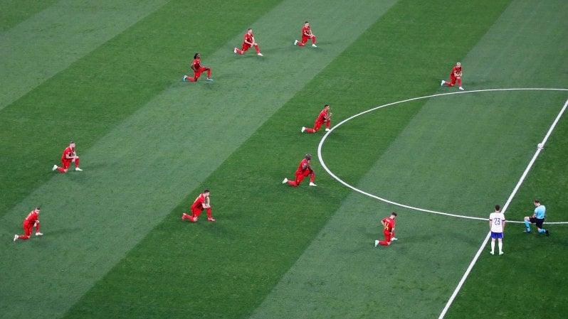 Europei, Belgio-Russia 3-0; decide Lukaku, doppietta e dedica a Eriksen: I love you