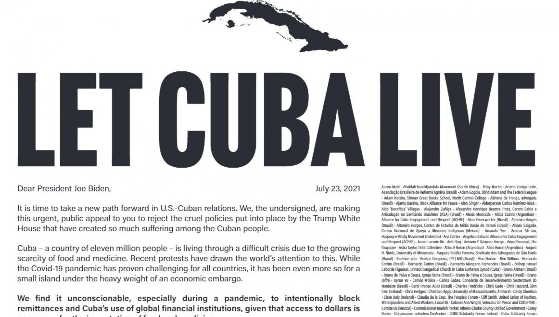 173132297 968903ac 9e90 45f7 be0b 391360dec2b7 - Stati Uniti, 100 intellettuali e Vip chiedono a Biden di togliere l'embargo contro Cuba