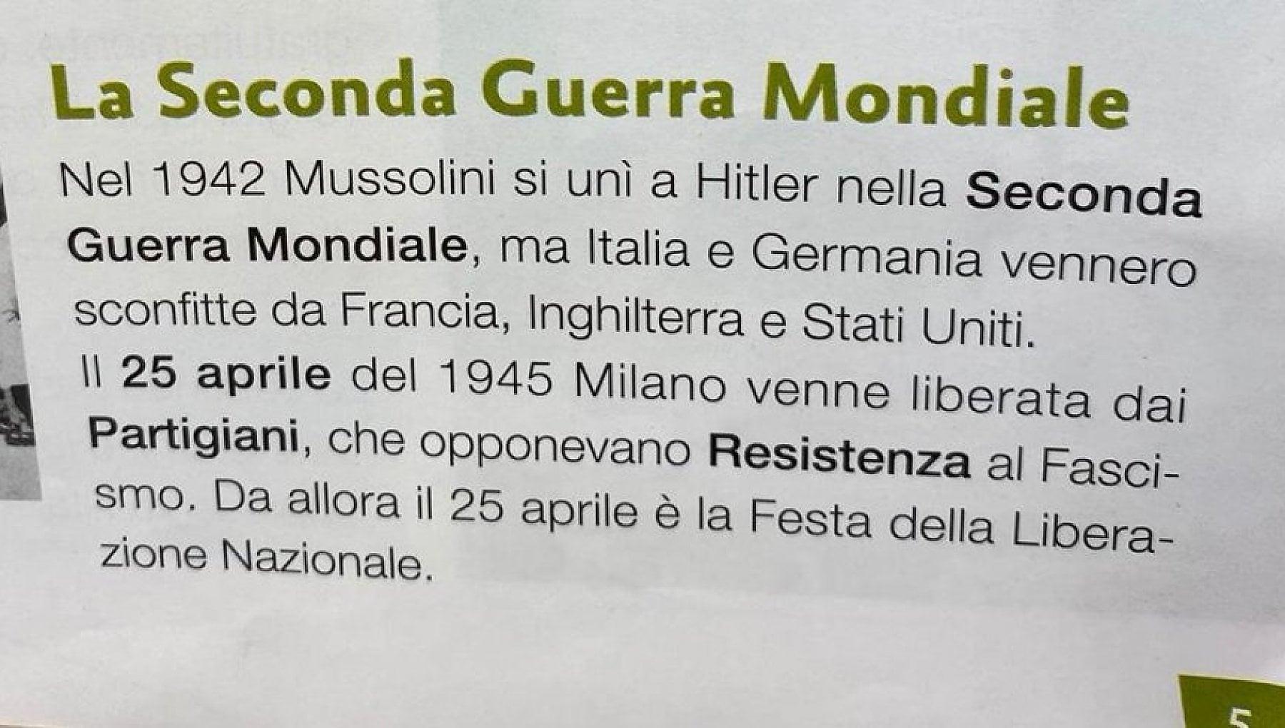 """Scuola, strafalcione nel libro di quinta elementare: """"L'Italia è entrata in guerra nel 1942"""""""