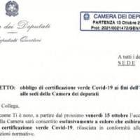 """Camera, i questori ai deputati: """"Da venerdì accesso a Montecitorio solo con il Green pass"""""""