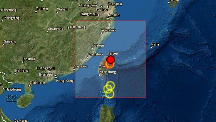Terremoto Taiwan, scossa di magnitudo 6,2 a nord di Hualien