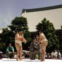 Giappone, il sumo del pianto: bimbi trasformati in lottatori nel rito propiziatorio