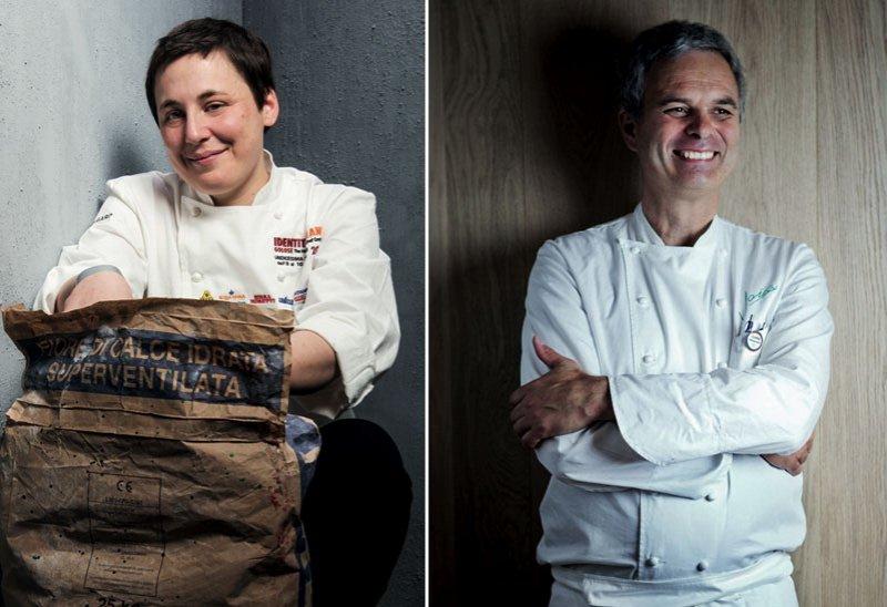 Antonia Klugman, chef patron di L'argine a Vencò, in provincia di Gorizia e Pietro Leemann del ristorante Joia di Milano