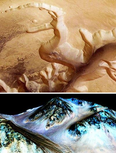 Una formazione rocciosa erosa, indizio dell'esistenza di acqua nel passato, fotografata da una sonda dell'Agenzia Spaziale Europea. Sotto, il pianeta Marte visto dall'orbitaFoto di ESA - NASA