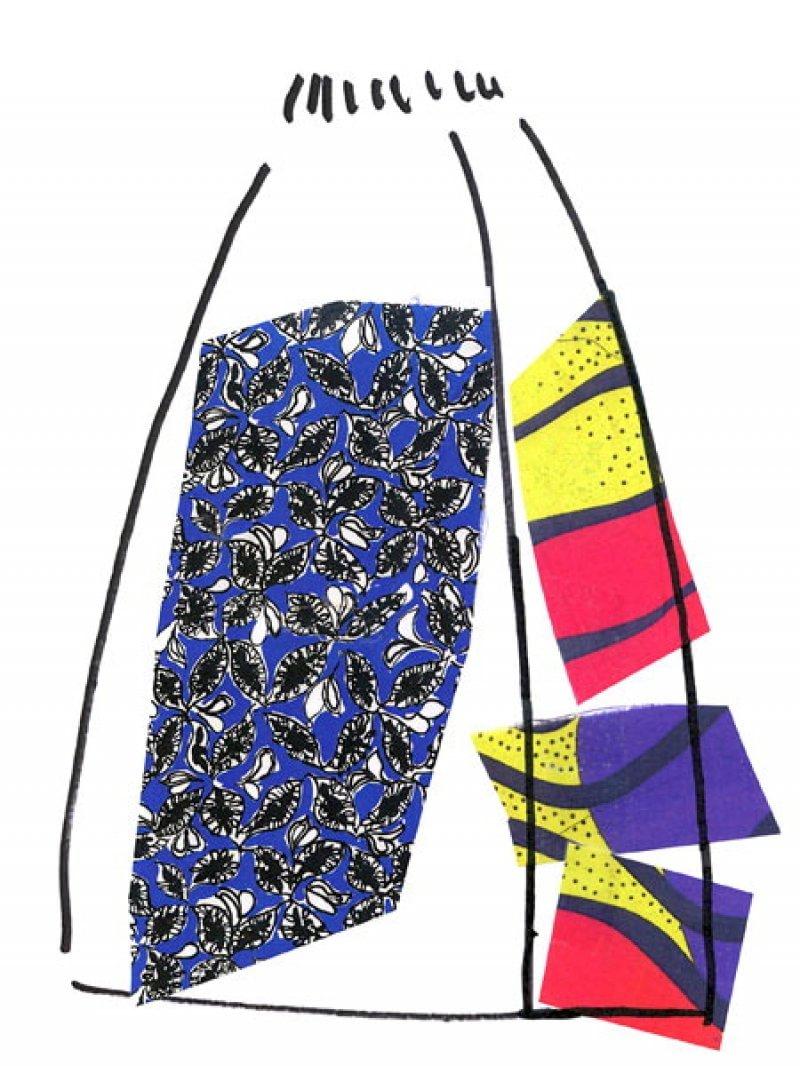 Lo schizzo di una delle gonne create per Marni Ballhaus